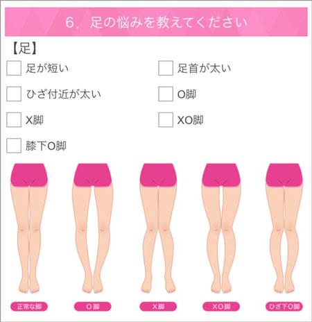 Rcawaiiの骨格・体型診断(足の悩みを選ぶ)